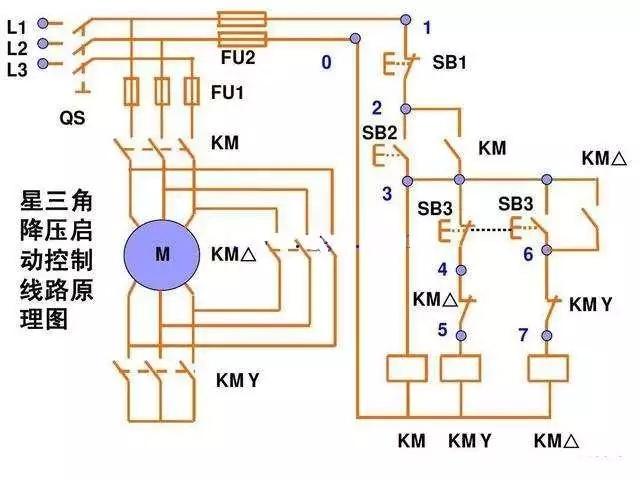 电动机星三角降压启动接线图