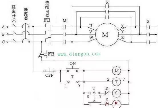 电动机星三角启动是异步电动机最常见的一种启动方式,因为异步电动机在启动过程中起动电流较大,所以容量大的电动机可以采用星一三角形换接启动。这是一种简单的降压启动方式,在启动时将定子绕组接成星形,待启动完毕后再接成三角形,就可以降低启动电流,减轻它对电网的冲击。这样的启动方式称为星三角减压启动,简称为星三角启动(Y-起动)。 采用星三角启动时,启动电流只是原来按三角形接法直接起动时的1/3。如果直接起动时的起动电流以6~7Ie计,则在星三角起动时,起动电流才2~2.